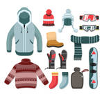 13 creative winter clothing and accessories vector