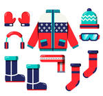 8 color winter clothing accessories vector materia