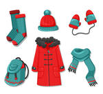 6 Color Winter Clothing And Accessories Vector