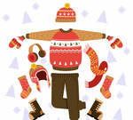 Hand painted winter clothing sets vector material