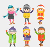 6 Lovely Winter Clothing Children Vector Material by FreeIconsdownload