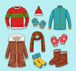 9 Color Winter Clothing And Accessories Vector