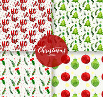 4 Watercolor Painted Christmas Seamless Background by FreeIconsdownload