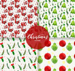 4 Watercolor Painted Christmas Seamless Background