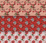 3 Hand Drawn Christmas Floral Seamless Backgrounds