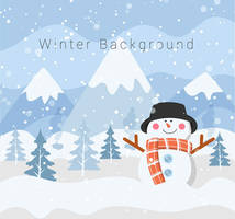 Cartoon winter snowman vector background material by FreeIconsdownload