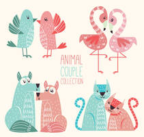 4 Painted Animal Couple Vector Collection by FreeIconsdownload