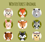 9 Flat Winter Forest Animals Vector