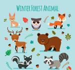 7 Lovely Winter Forest Animal Vector