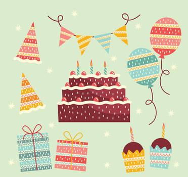 10 creative Fresh birthday elements vector