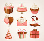 9 Pink Birthday Party Elements Vector Material