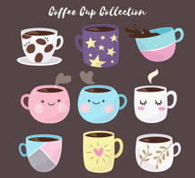 9 Coloured Cups of Cute Coffee vector collection by FreeIconsdownload