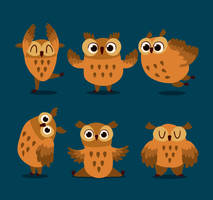 6 Lovely Brown Owl Vector Material by FreeIconsdownload