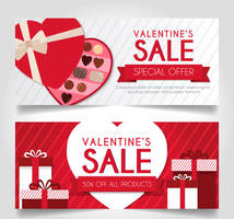 2 creative Valentine's Day promotion banner vector by FreeIconsdownload