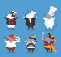 6 Creative Dress Mouse Vector Material by FreeIconsdownload