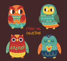 4 Colorful Ethnic Owl Collection Vector by FreeIconsdownload