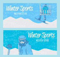 2 Colorful Winter Sports Banner Vector by FreeIconsdownload
