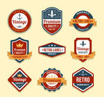 9 Retro Quality Product Label Vector Material