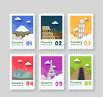 6 Color Paper Travel City Stamps