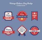 6 Vintage Red International Labor Day label vector