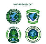 4 Creative World Earth Day Labels Vector