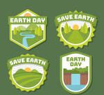 4 Green World Earth Day Label Vector Materials