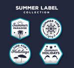 4 Summer Vacation Label Vector Materials