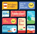 9 Color Greeting Language Bubble Vector Materials
