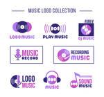 8 Purple Music Element Vector Logo