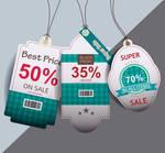 3 Green Promotion Hangtag Labels Vector