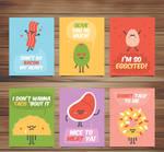 6 Cute food card design vector materials