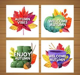 4 Creative Autumn Element Cards Vector