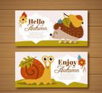 2 Cute Autumn Animals Banner Vector Material
