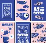 6 Blue Ocean Element Cards Vector Material