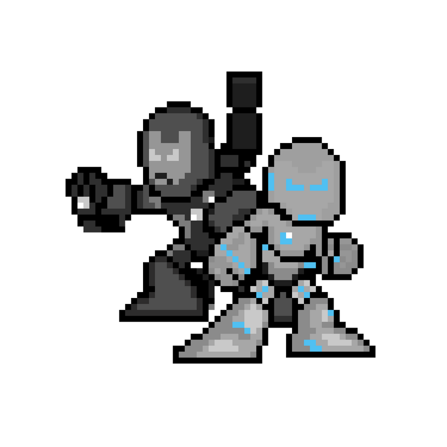 Superior Iron Man and War Machine MK II Sprites by W-ar