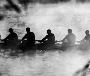 Rowers in the mist by lomatic