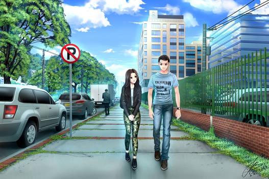 Couple walking (Commission)