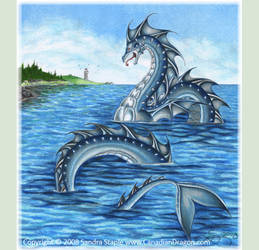 Serpent at the Cove -Sea Serpent Drawing 2008 by canadiandragon