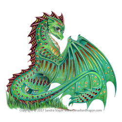 Trying to Blend In -Green Patterned Dragon 2017