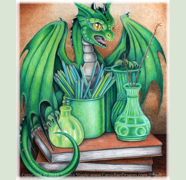 Pet Green Dragonette- Dragon Drawing Sandra Staple by canadiandragon