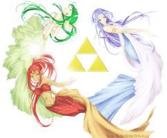 hyrule's three goddesses by chocobikies