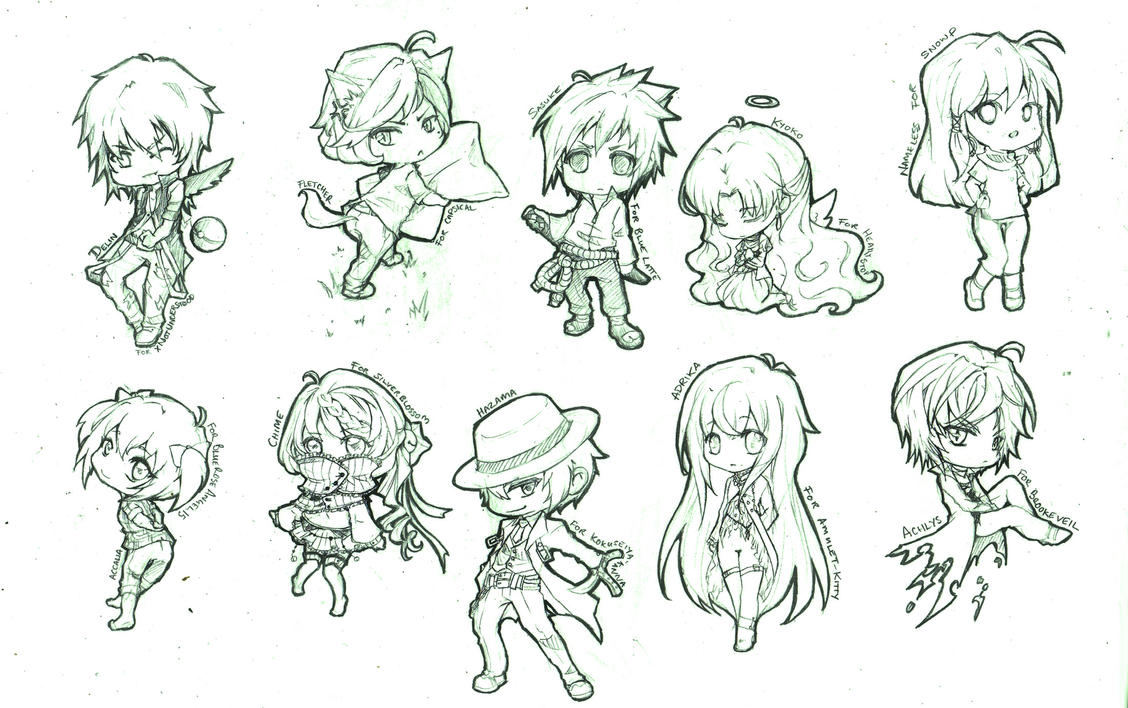 chibi sketch requests by chocobikies on DeviantArt