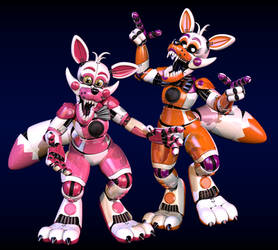 Stylized Funtime Foxy and Lolbit by Morigandero