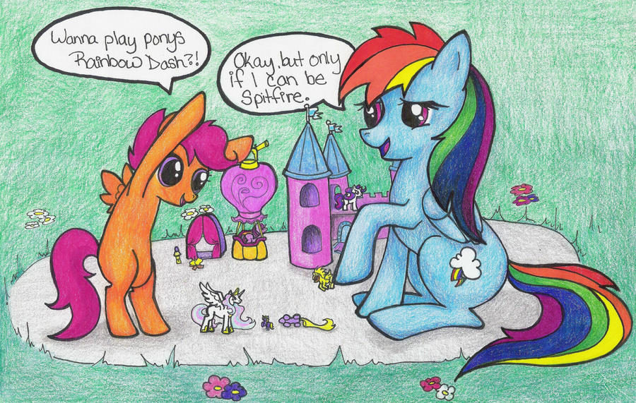 scootaloo and dash playing ponies by DustyRose3