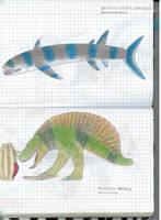 Draconis selachosaurus and emperor velosaurus by Preradkor