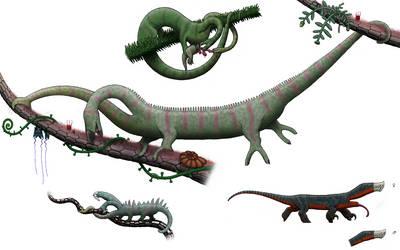 Cephalopodosaurs and dwarf kahydron from Snaiad by Preradkor