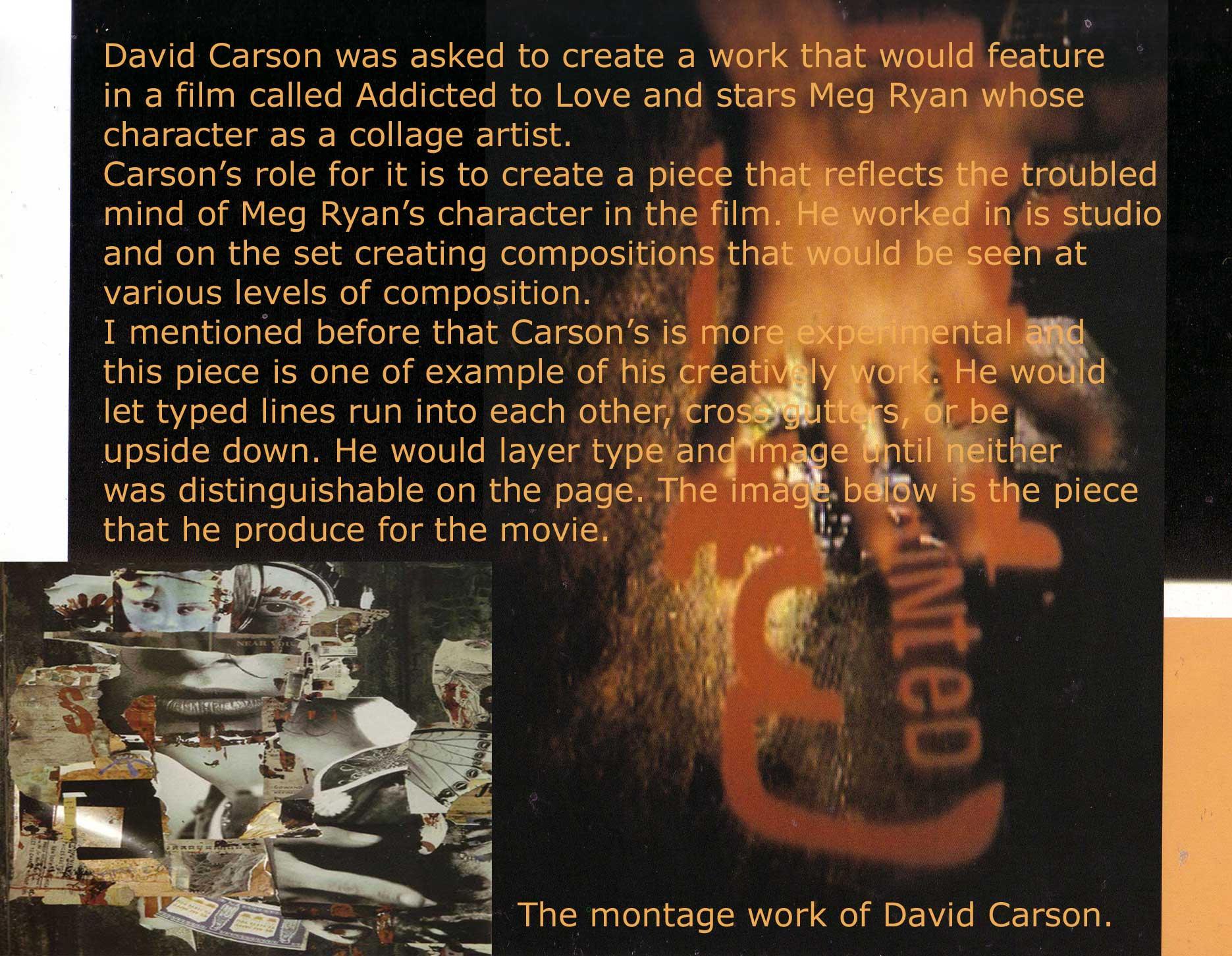 david carson essay Ben carson: a man with gifted hands by david e age:  ben carson: the man with gifted hands  then add the 1 cup gifted hands and mix for.