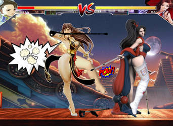 Chun li vs Mai Shiranui round 2 by TheZac