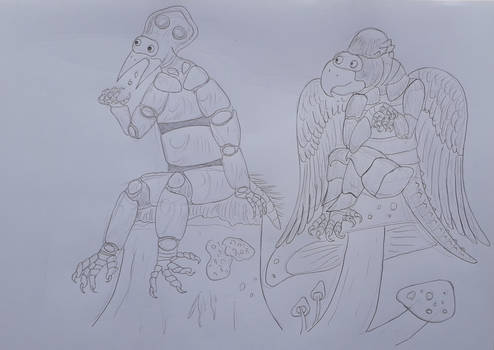 Crowbot and Servom (Art by ChocolateSawfish)