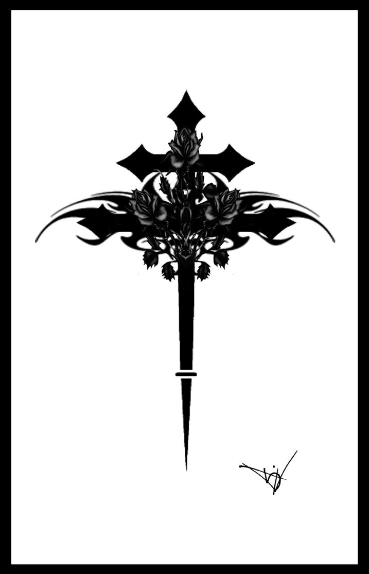 gothic cross with roses by quicksilverfury on deviantart. Black Bedroom Furniture Sets. Home Design Ideas